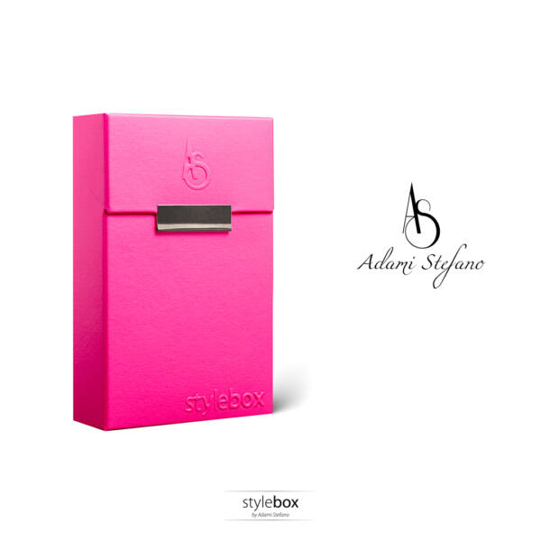 "M Electric pink ""stylebox"" embossed"